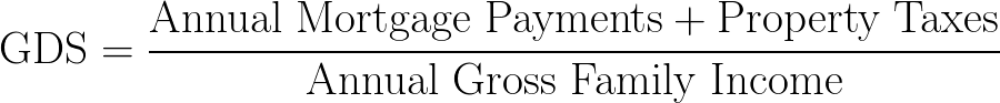 Gross Debt Service Ratio,GDS,GDSR formula,equation,calculator