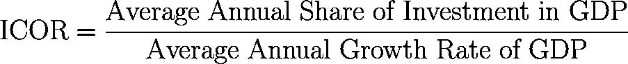 Incremental capital-output ratio,ICOR formula,equation,calculator