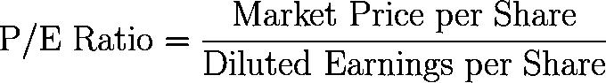 P/E ratio,price to earnings ratio,PE ratio,PE,P/E,PER,multiple formula,equation,calculator