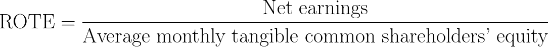 Return on tangible equity,ROTE,rate of return on the tangible common equity,return on average tangible common shareholders' equity formula,equation,calculator