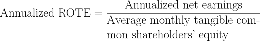 annualized return on tangible equity,annualized ROTE,annualized rate of return on the tangible common equity,annualized return on average tangible common shareholders' equity formula,equation,calculator