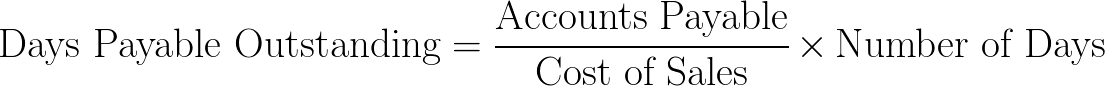days payable outstanding,DPO formula,equation,calculator