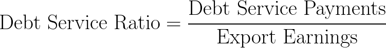debt service ratio,DSR,debt to export ratio,DER,debt service to exports ratio,DSTER formula,equation,calculator