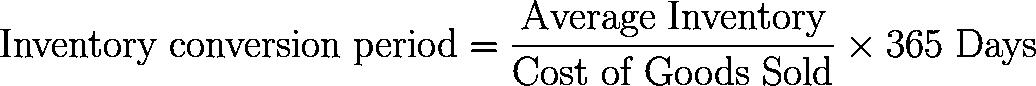 存货转换周期,存货转换天数 formula,equation,calculator