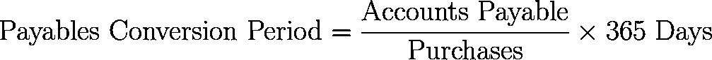 payables conversion period,PCP formula,equation,calculator