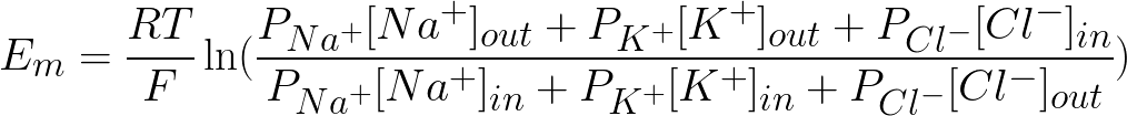 Equilibrium potential across a cell's membrane (the Goldman-GHK equation) formula