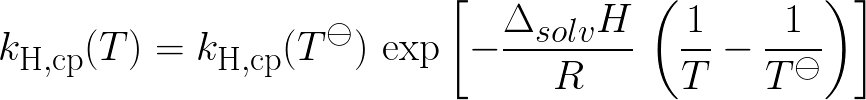 Henry's law constant at temperature T (given Henry constant at standard temperature,enthalpy of solution) formula