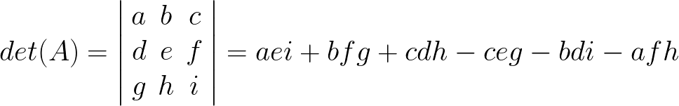 The determinant of a 3-by-3 matrix formula